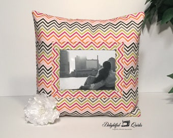 Decorative Pillow, Photo Pillow, 16x16 Pillow, Christmas Gift, Graduation, Chevron, Throw Pillow, Personlized, Photo Pocket Pillow, Get Well