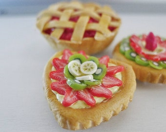 Fruit tarts and cherry pie magnets | set of 3 |