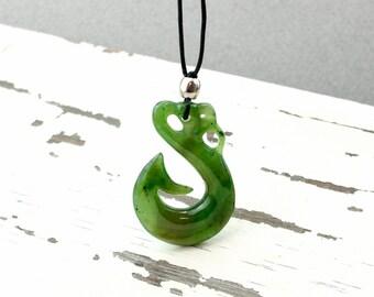 Nephrite Jade Maori Fish Hook Necklace - Maori Style Pendant - New Zealand Maori, Leather Cord, Symbolic Necklace