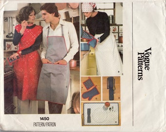 Vintage Sewing Pattern Vogue 1450 Accessories and Aprons Size Small Unisex