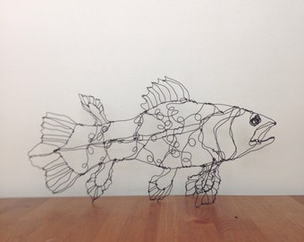 Coelacanth fish art-wire drawing sculpture