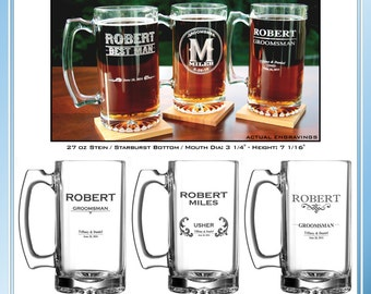 Personalized Stein, 27 oz. -Free Digital Proof & Gift Box- Wedding, Groomsman, Best Man, Usher, Father of the Bride, Groom Gifts