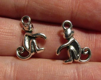 lot of 2 silver charms monkey 16mmx13mm