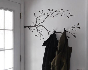 Tree Branch Vinyl Decals, Create a DIY coat rack or Jewlery Display, Branch Wall Decals, Choose your Size and Color, Tree limb with Leaves