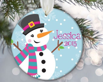 Snowman Personalized Christmas Ornament Snowman Christmas Keepsake Snowman Ornament Holiday Gift OR241