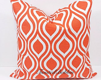Tangelo. 24x24 Pillow case. Pillow cover. Tangelo and white. nicole. orange pillow cover.orange cushion cover. tangelo Pillow case.
