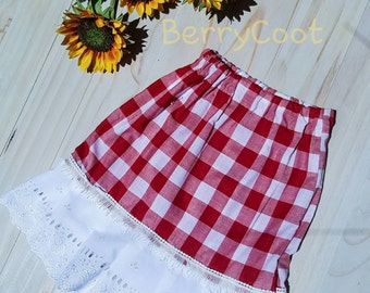 Gingham skirt - French country skirt - country girl skirt - red skirt - red checked skirt-girls skirt