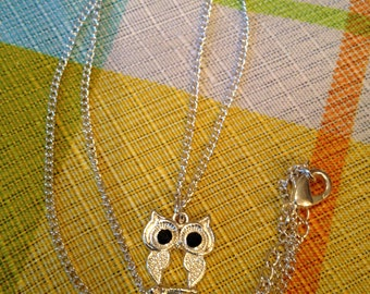 Cute Little Owl Necklace with Black Eyes