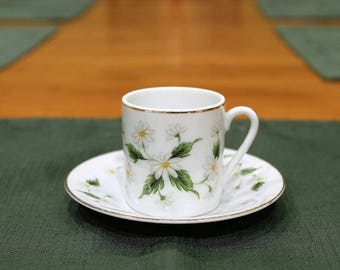 Lefton China Daisy Pattern Dimitasse Cup and Saucer.