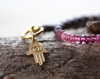 Pink Tourmaline and Freshwater Pearl Bracelet, 14k Gold Filled