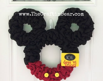Mickey Mouse wreath - Burlap wreath - Countdown to Disney - Personalized Mickey - party decor - nursery decor - Minnie mouse wreath
