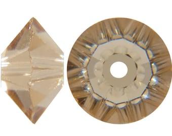 Swaovski flat bicone bead in light colorado topaz 6mm - Quantity of 72 beads