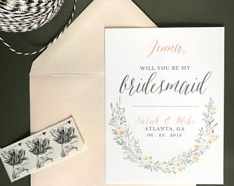 Joie - Will You Be My Bridesmaid . Maid Of Honor . Flower Girl - Card