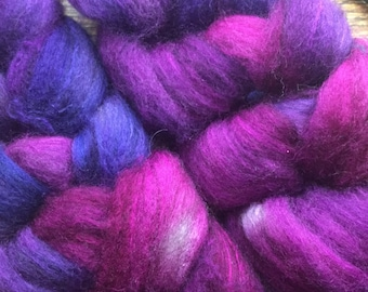 Merino Yak and Silk Combed Top Roving purples colorway