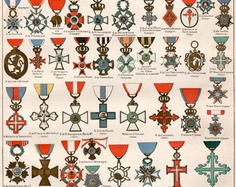 1897 Military Decoration Antique Print Vintage Lithograph Illustration Cross Medallion Designs Order of Merit Medal Awards Military Orders