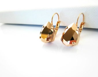rose gold crystal earrings rose gold earrings swarovski pear shaped tear blush pink rose gold jewelry minimalist modern bridal bridesmaids