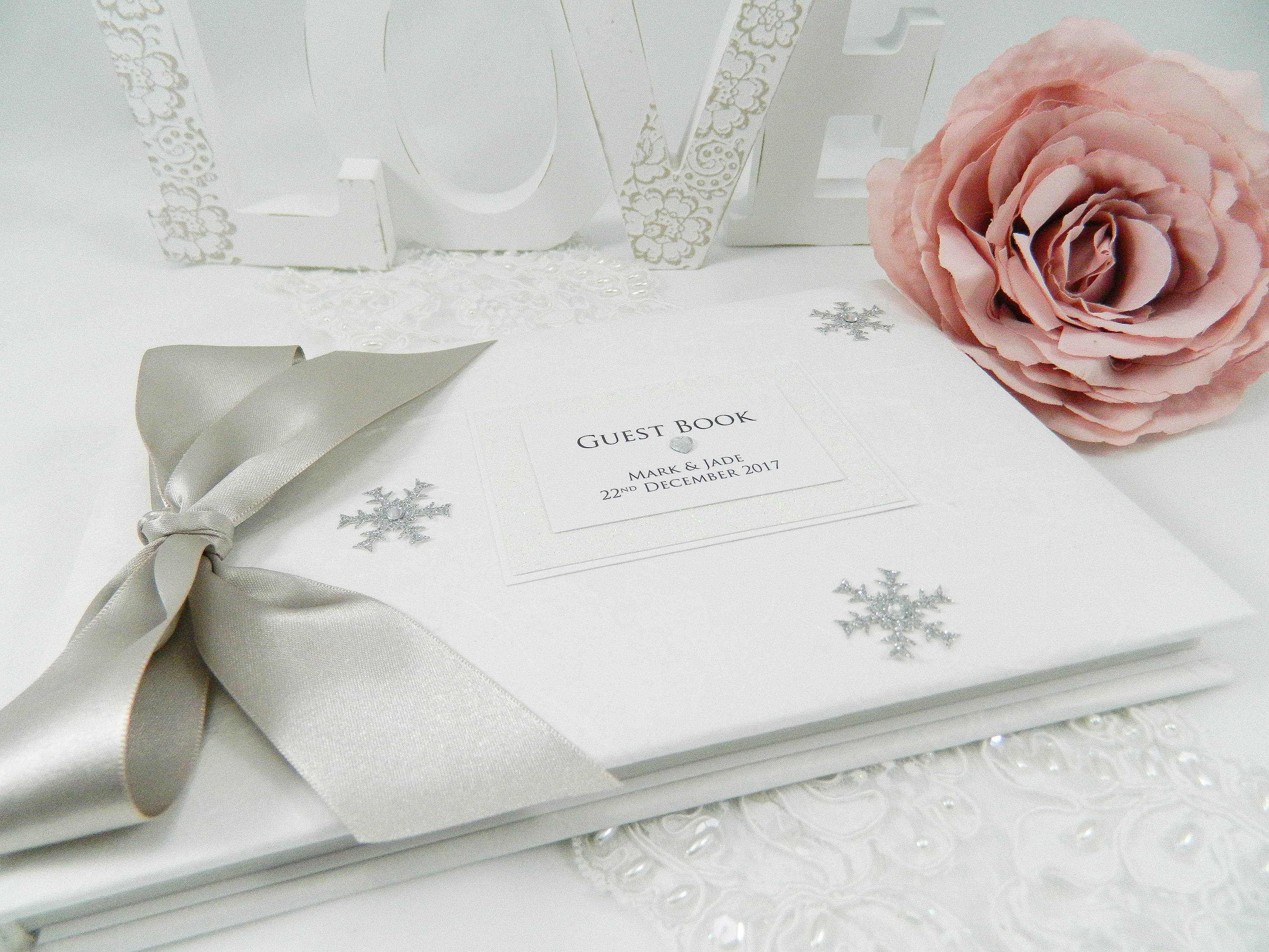 Winter/Christmas Snowflake Wedding Guest Book LARGE SIZE