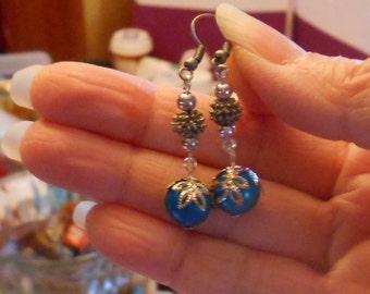 flower bud drop earrings,filigree beaded earrings,blue and silver earrings