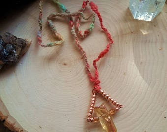 Arcanity: Triangulum Necklace - Golden Angel Quartz with copper-toned beads, copper wire, textured handspun yarn