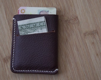 Minimalist Wallet  //  Full Grain Oil Tanned leather in whiskey brown  //  Groomsmen Father's Day Gifts for Him  //  HANDMADE IN USA