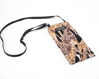 Giraffe fabric Eyeglass Reader Case -with adjustable neck strap lanyard