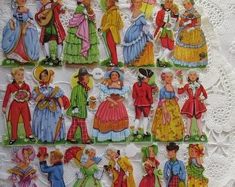 Vintage EAS Germany Die Cut Paper Scraps Dancing Couples  EAS 3096B
