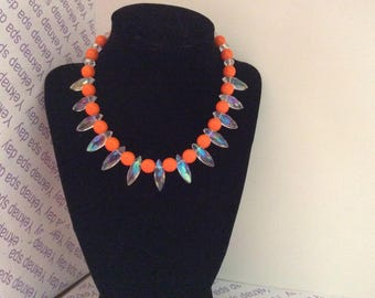 Orange and Crystal Necklace