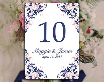 "Navy Blush Wedding Table Number Template - DIY Table Number Printable - Microsoft Word Template ""Maggie"" Shabby Chic Wedding Table Number"