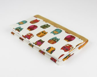 Checkbook owls multicolored cotton and suede