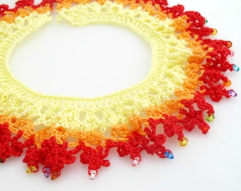 Red Ruffle Collar Necklace. Organic. Crochet. Pay It Forward.