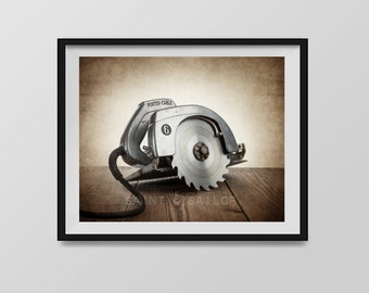 Vintage Circular Saw Photo Print, from the Vintage Carpenter Tools Collection, Boys Wall Art, Boys Room Decor, Rustic Decor