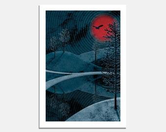 Midnight Sun Art Print / art print / wall art / night sky / red moon / owl / fox / water reflection / landscape / nature / silhouette / blue