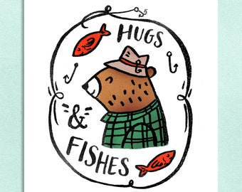 Hugs & Fishes -Art Print 5x7, 8x10, 11x14