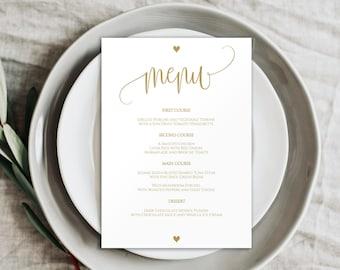 Gold Wedding Menu, Wedding Menu Printable, Printable Menu, Wedding Menu Template, Dinner Menu, DIY Wedding Menu, DIY Menu Template, BD6022_1