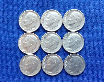1965 P Roosevelt Dimes, Vintage Old US Coins for Coin Collecting, First Year Copper Dime