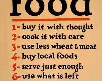 "Vintage Reproduction WWI Era Poster  ""Food-Don't Waste it"" - 11 x 14 c1917"