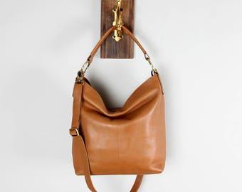 Tan Leather Handbag, Hobo, Tote, Purse
