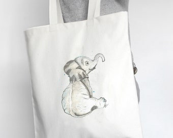 Canvas Baby Tote Bag | Baby Elephant Watercolor Tote | Personalized Totes | Totes | Canvas Tote | Custom Tote Bag | Elephant Tote Bag
