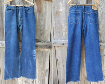 RARE 70s Insulated Levis 517 Saddleman Boot Cut Jeans, W34 L32 // Western Winter Jeans // Orange Tab Levi's