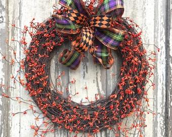 Sale Halloween Wreath,Halloween wreath, Halloween wreath for front door, Halloween door Wreath, Double Door halloween wreath