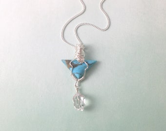 HandmadeTurquoise, Wire-Wrapped, Herkimer Diamond, Sterling Silver Wire,Mixed Gemstone,