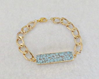 Gold Chain Bracelet Gold and Turquoise ID Bracelet Curb Chain Bracelet Stone Bracelet Turquoise Bar Bracelet Chic and Trendy