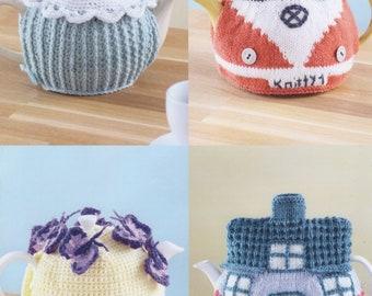 Sirdar (7221) Teacosies Crochet & Knitting Pattern - Cupcake, Campervan, Butterflies, Cottage