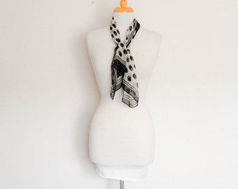 1970s Black and White Long Scarf Vintage