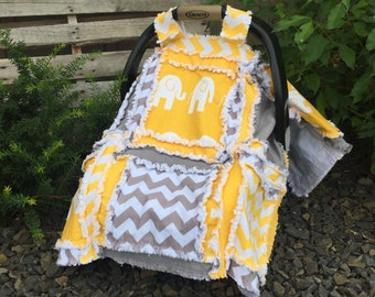 Elephant Car Seat Canopy- Yellow / Gray Gender Neutral Baby- Baby Boy Crib Bedding - Elephant Baby Quilt - Elephant Mini Crib Quilt Girl