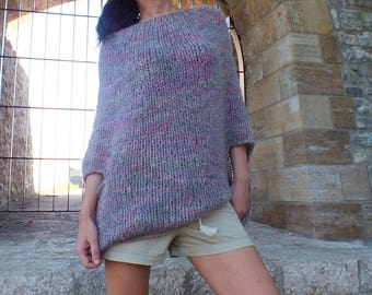 Loose knit Poncho Mohair poncho Soft wool poncho Boho poncho mohair Gift for sister gift for daughter