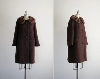 Cara coat • vintage 1960s boucle wool swing coat • brown 60s jacket with mink collar