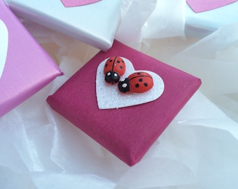 Valentine's Day Gift Box of Gourmet Chocolates, Ladybugs on Hearts, Love Bugs, Unique Valentine's Day Gift