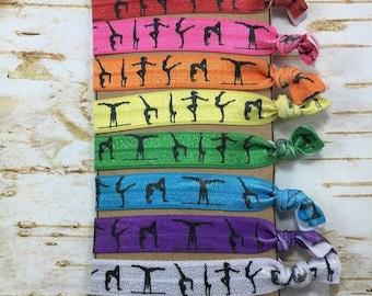 Gymnastic rainbow gymnastics fold over elastic FOE hair ties birthday party favor white purple stocking stuffer Easter team gift goodie bag