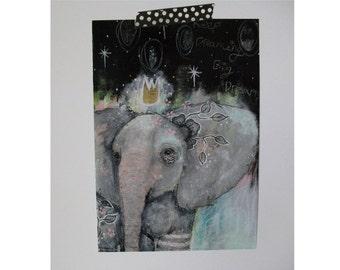 Elephant glossy oversized postcard poster print elephant painting art print A5 size - keep dreaming big dreams